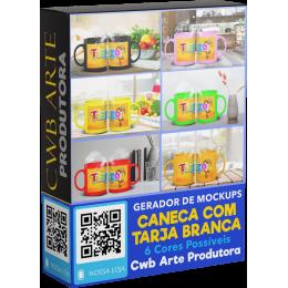 Gerador de Mockup de Canecas com Tarja Branca V1